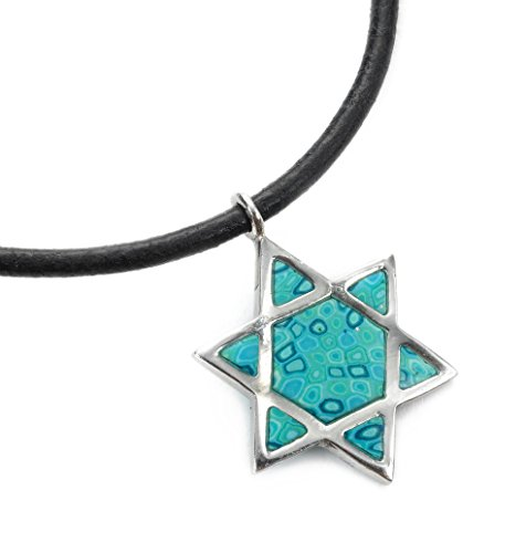 925 Sterling Silver Mens Star of David Necklace Jewish Pendant Sea Green Polymer Clay, 18.9