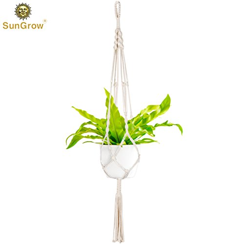 "(SunGrow Indoor-Outdoor Macrame Plant Hanger - All Natural Hemp Rope Braided Securely to Hold your Houseplants - Bird Feeder and Plant Holder by Extends up to a Length of 41"" and 10"" in Diameter)"