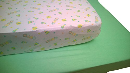 Baby Crib Sheet Luxclub 2 Count Pack - Baby Toys Print and