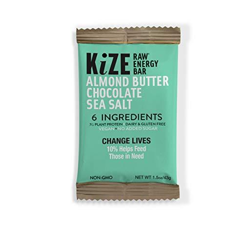 KiZE - (10 Pack) Raw Energy Bars - Vegan Almond Butter Chocolate Sea Salt - Non GMO, Gluten Free, No Added Sugar, Bulletproof