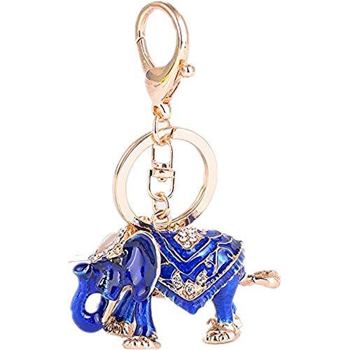 - JewelBeauty Women Rhinestone Keychain Lucky Elephant Key Chains Crystal Pendent Bling Clothing Accessories Handbag Decoration Sparkling Keyrings Keyfob for Purse Bag Charm (Blue)
