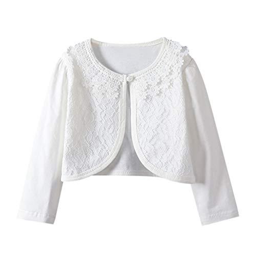Sayolala Girls North Face Jacket Toddler Kids Baby Little Girls Lace Princess Bolero Cardigan Shrug Kids Jackets White