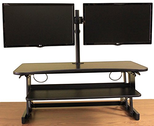 Rocelco DADR Premium Height Adjustable Sit/Stand Desk Computer Riser, 2-3 Monitor Capable, 37