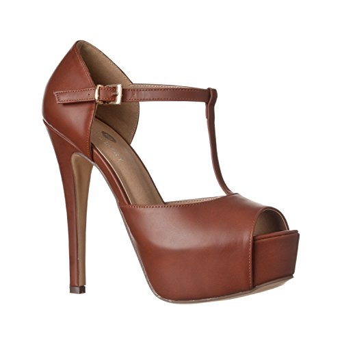 Riverberry Women's Abby Peep Toe Platform T-Strap High Heel Pump, Brown PU, 7