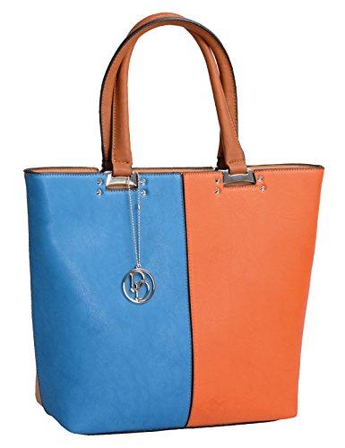 Sacchetto sintetico DANIELE DONATI, blu / arancione / marrone, 34x40x13cm