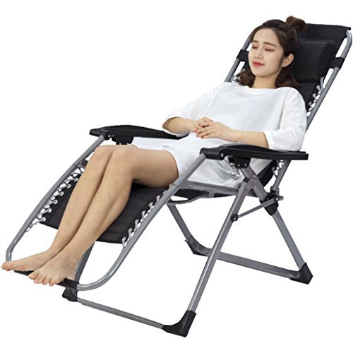 Recliners Chairs Tatami lounge sofa lunch Deck chairs Folding rocking chair office lunch break home elderly with a cool chair leisure chair (Color : Black, Size : (Cushioned Deck Mat)