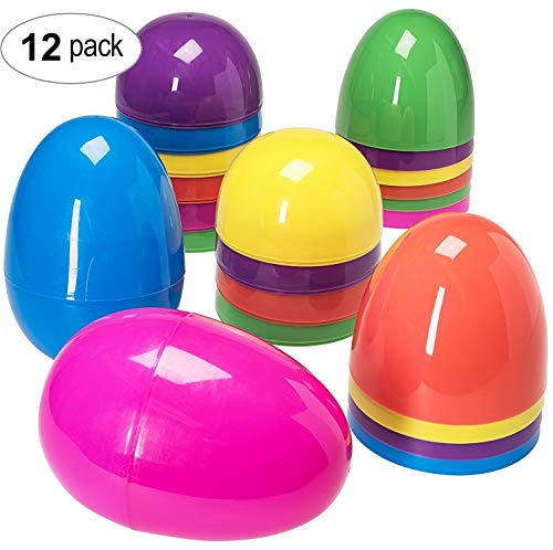 (Jumbo 12 Piece Assorted Solid Colors Giant Easter Eggs - 7 Inches)