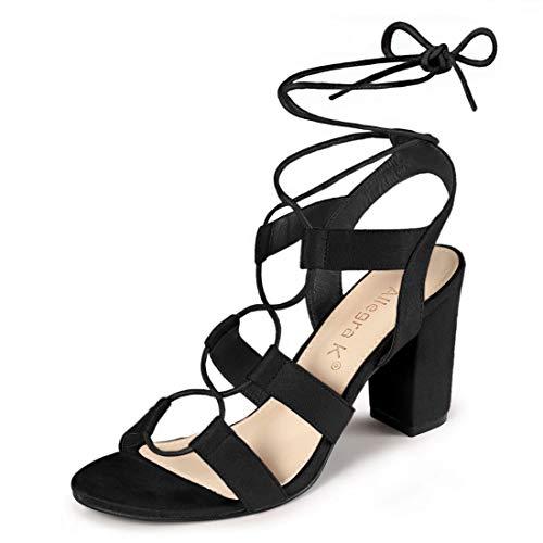 Allegra K Women's Lace Up Block Heel Cutout Black Gladiator Sandals - 9 M US (Black Cut Out Lace Up Platform Heels)
