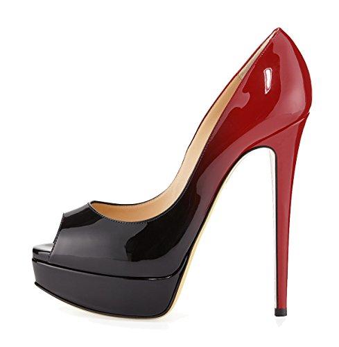 SexyPrey Women's Open Peep Toe Stylish Colorful Platform Sandals Ladies High Heels for Party Wedding Dress Crimson GIUFh