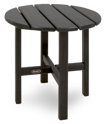 Polywood Traditional Deck - Trex Outdoor Furniture Cape Cod Round 18-Inch Side Table, Charcoal Black