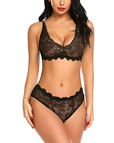 wearella Women Lingerie Sets 2 Piece Bra and Panty Set Halter Lace Bralette Underwear Black M