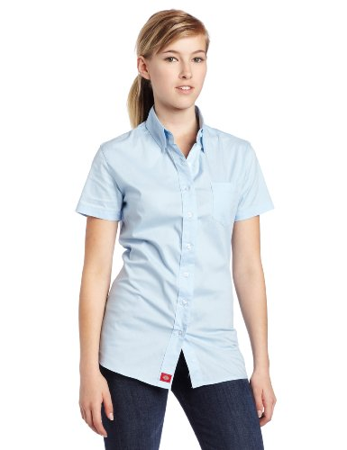 Womens Short Sleeve Button Front (Dickies Girl Juniors Short Sleeve Button Front Poplin Shirt,Baby Blue,Small)