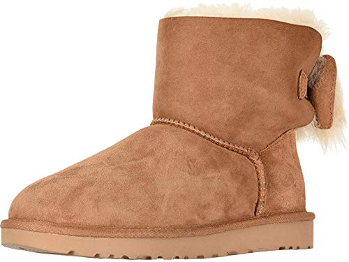UGG Women's W Fluff Bow Mini Fashion Boot, Chestnut, 9 M US