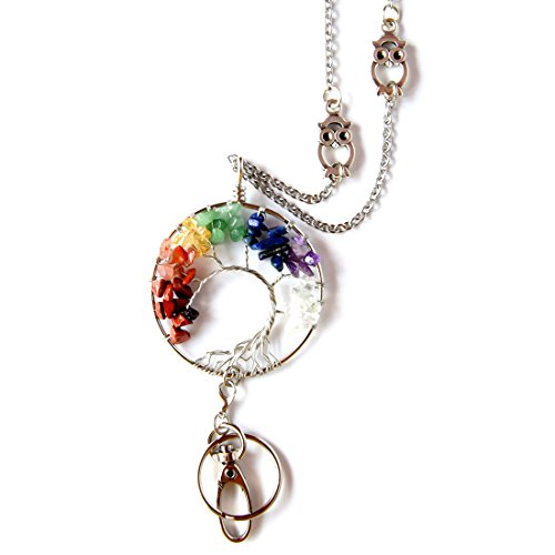 - Crimmy Fashion Lanyard for Women, Tree of Life Pendant Necklace Badge Holder and Key Chain, Stainless Steel Owl ID Holder (Multi)