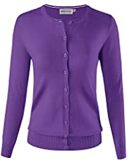 MAYSIX APPAREL Long Sleeve Button Down Round Crew Neck Knit Sweater Cardigan Women (S-3X, 7size)