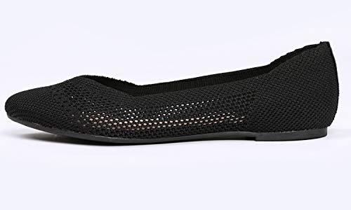 Women's En Femmes Shoes Flat Noir Ballet Pour Plates Feversole Chaussures Flyknit De Fashion Rond dwZxx487q
