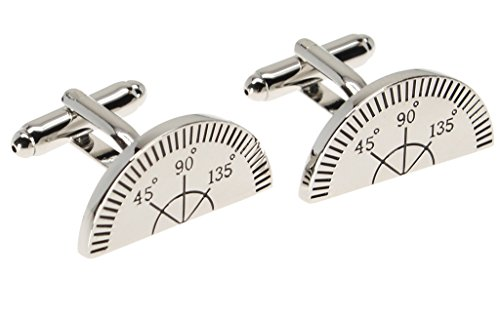 Silver Cuff Links with Compass Ruler Drafting and Design Theme - Measuring Ruler Costume