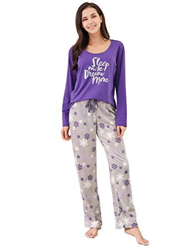 Richie House Women's Two-Piece Sleepwear Set with Top & Pants RHW2864-B-M Purple/Grey