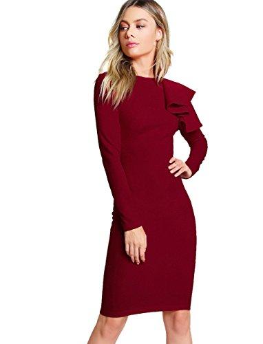 ant Long Sleeve Knee Length Bodycon Dress Burgundy S ()
