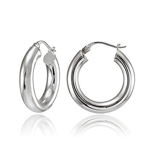 Hoops & Loops Sterling Silver 4mm High Polished Round Hoop Earrings, 25mm (Mm Round Hoop 25)