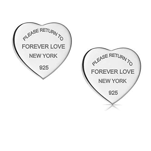 - Designer Inspired Titanium Steel Forever Love Heart Earrings Studs (Silver)