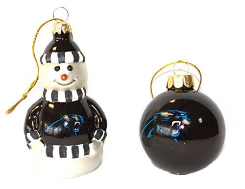 Snowman Ball Ornament - NFL Carolina Panthers Snowman and Ball Mini Blown Glass Ornaments