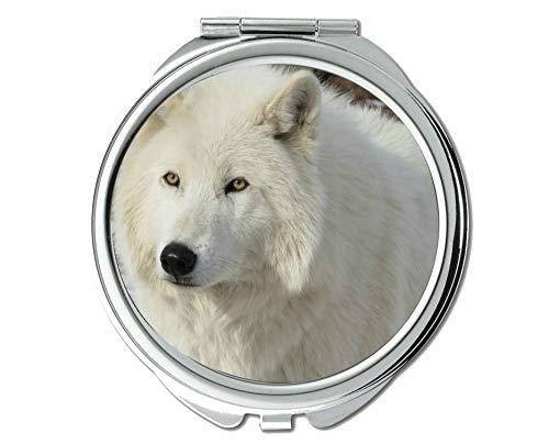 Yanteng Flying Pig Men Mirror,Round Mirror,Arctic Wolf Wildlife Predator Wolf,Pocket Mirror,1 X 2X Magnifying