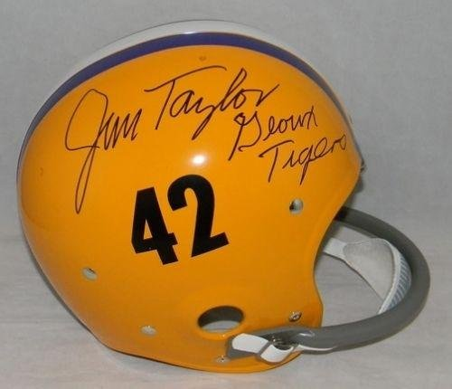 Helmet Throwback Rk (Jim Taylor Autographed Helmet - Lsu Tigers Full Size Throwback Rk - JSA Certified - Autographed College Helmets)