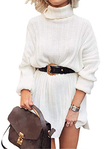 Pull Femme Robe Hiver Col Roulé Manche Longues Pas Cher Fille Sweater Pullover Jumper Robe