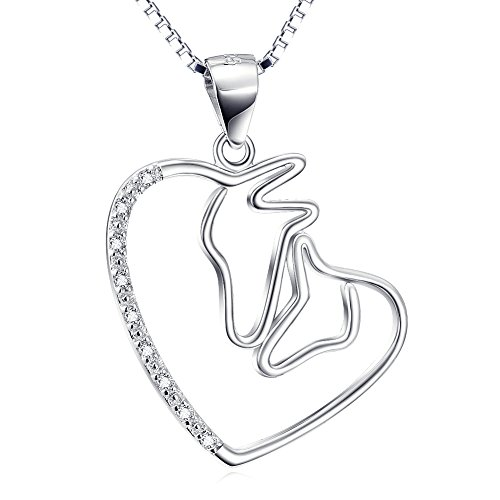 YFN Mom and Child Horse 925 Sterling Silver love Forever Double Horse Head Necklace,18