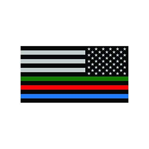 KW Vinyl Reverse Thin Blue Line USA Flag with Red Blue Green Stripe Sticker Decal Self Adhesive Made in USA