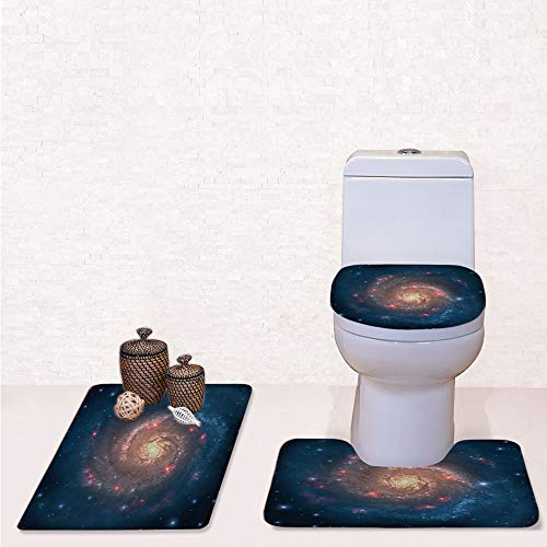 Comfort Flannel 3 Pcs Bath Rug Set,Contour Mat Toilet Seat Cover,Mystical Spiral Galaxy Expanse Beyond Milky Way Planet Astral Space Art with Petrol Blue Peach,Decorate Bathroom,Entrance Door,Kitchen]()