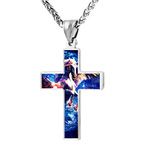 Kenlove87 Patriotic Cross Unicorn Religious Lord'S Zinc Jewelry Pendant Necklace by Kenlove87 (Image #1)'