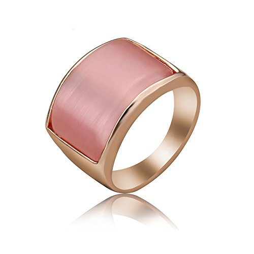 (Yfnfxl Womens Vintage Simulated Opal Unisex Wide Cocktail Thumb Pink White Ring (Pink, 9))