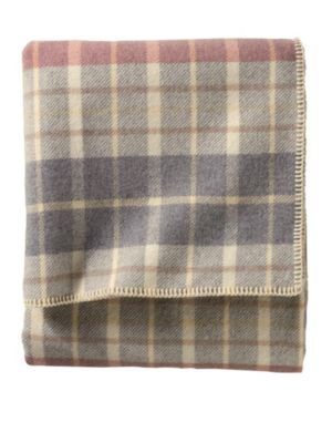 Pendleton Eco-Wise Wool Washable King Blanket, Blush/Grey Plaid (Wool Plaid Blankets)
