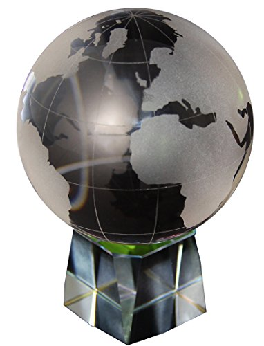 Replogle Crystal - Mini World Globe, Crystal Globe Ball, Frosted Continents, Detached Iridescent Crystal Base, Satin-Padded Gift Box Included (3