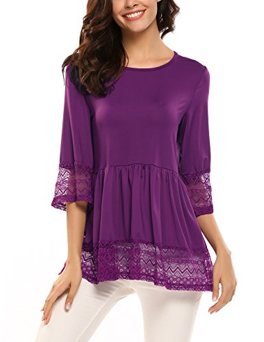 (SoTeer Womens Casual 3 4 Sleeve Cute Babydoll Ruffle Flare Lace Tunic Tops T Shirts Loose Blouse (XX-Large, Purple))