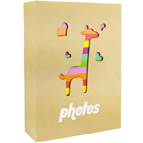 (NLC Small Photo Album Baby Journal Photo Album 4x6 inch,100 Pockets Giraffe Pictures Album,Brown)