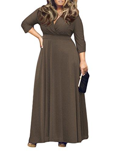 Appcome Women's Empire Waist Deep V Neck Plus Size Maxi Dress
