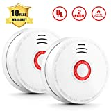 2 Pack Photoelectric Smoke Detector, Smoke and Fire Alarm, DC 9V Battery Operated (Included) with Test Button 85 Decibels Sound Alarm and Red LED Indicator UL Listed 10 Years Safety