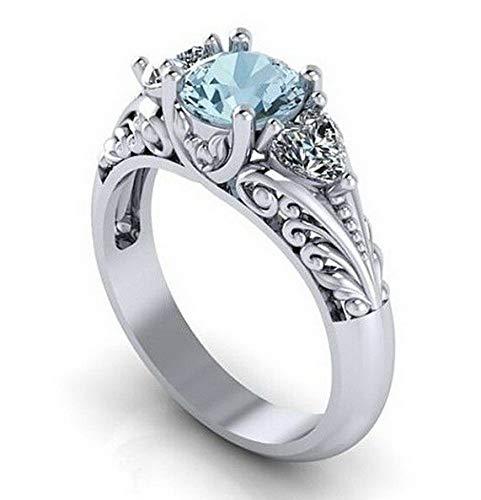 Ss Marcasite Pearl - Waldenn Women 925 Silver Fashion Aquamarine Jewelry Wedding Engagement Ring Size 5-11 | Model RNG - 13883 | 9