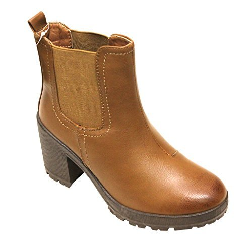 Bella Marie Tenesee-13 Women's Round Toe Chunky Heel Elastic Sides Chelsea Style Ankle Boots Tan 10