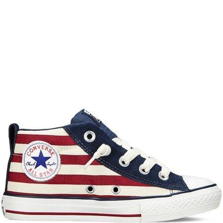 Converse Kids CT Street Mid Shoes Sneakers- 648495C- Navy/Maroon (6 M US Big Kid)