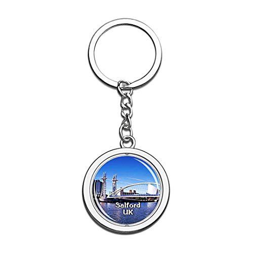 Salford Lowry Bridge UK England Keychain 3D Crystal Creative Spinning Round Stainless Steel Keychain Travel City Souvenir Collection Key Chain Ring]()