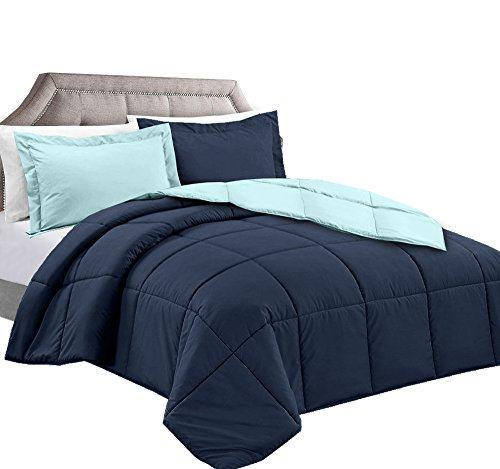 Clara Clark 3-Piece Goose Down Alternative Reversible Comforter Set, King, Navy/Aqua