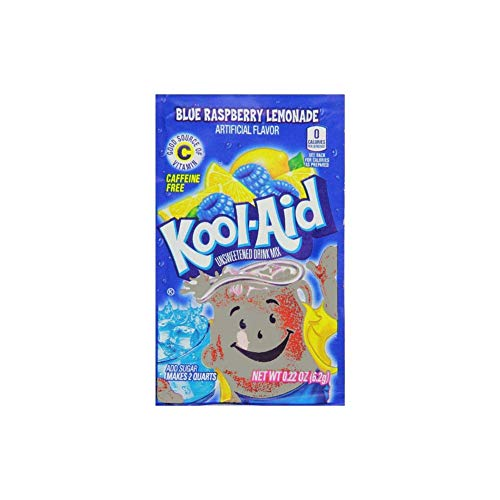 (Kool-Aid Twists Ice Blue Raspberry Lemonade Unsweetened Soft Drink Mix, 0.22-Ounce Packets (Pack of 48))