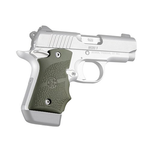 Hogue 39081 Kimber Micro 9 Ambi Safety Rubber Grip with Finger Grooves Olive Drab Green Gun Grips