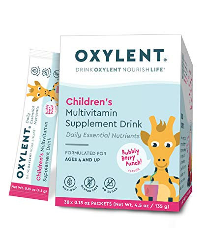Oxylent, Children's Multivitamin Supplement Drink with Stevia (30 Count) Delivers Vitamins and Minerals for Cognitive Well-Being, Bone, Muscle, and Immune System Support, Bubbly Berry Punch Flavor ()