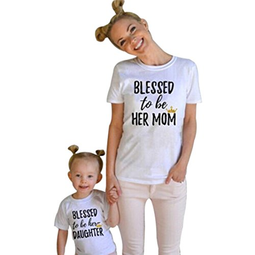 Funic Mommy & Me Kids Clothes Baby Girls Short Sleeve Letters Print T Shirt Family Outfits (4 Years, Girls)
