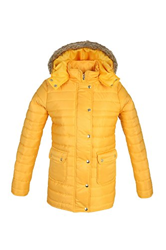 Jacket Womens Coat Puffer Zipper FASHIONS Hooded Bubble Thick Quilted Jacket PARSA Winter Padded Mustard Fur Ladies Buttons Warm XRHqg